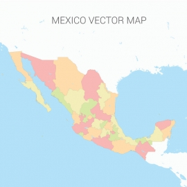 Mexico Map Colorful Vector Design
