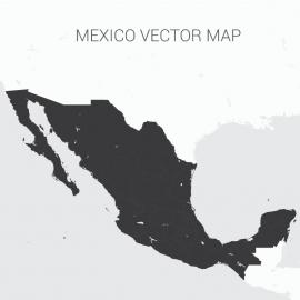 Mexico Map Dark Vector Design