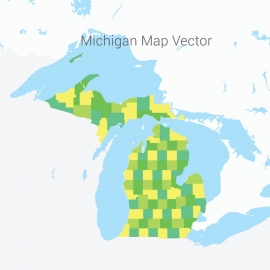 Michigan Map Colorful Vector Design