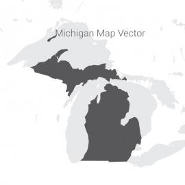 Michigan Map Dark Vector Design
