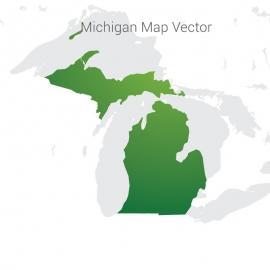 Michigan Map Gradient Vector Design
