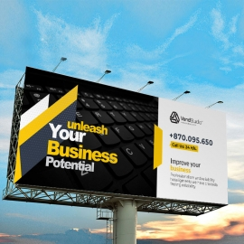 Minimal Billboard Sinage With Black Yellow Accent