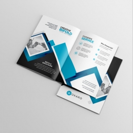 Minimal Business BiFold Brochure With Blue / Black Accent
