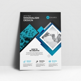 Minimal Business Flyer With Black / Blue Accent