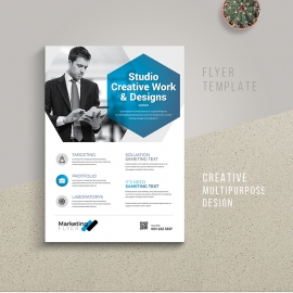 Minimal Business Flyer With Black  Blue Accent