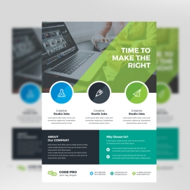 Minimal Business Flyer With Green/Black Accent