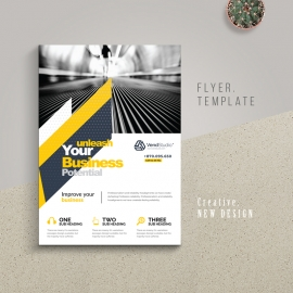 Minimal Business Flyer With Yellow Black Accent