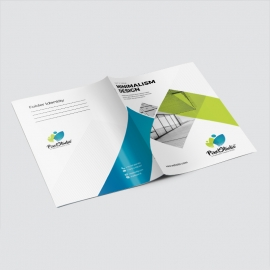 Minimal Business Presentation Folder With Blu /Green Accent