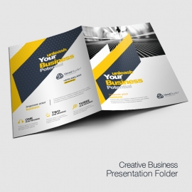 Minimal Business Presentation Folder With Yellow Black
