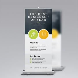 Minimal Business Rollup Banner With Black Accent