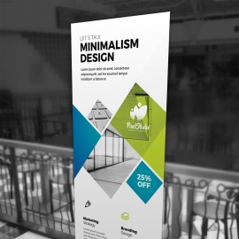Minimal Business Rollup Banner With Blue Green Accent