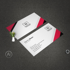 Minimal Clean Business Card Red Accent