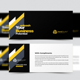 Minimal Compliment Card With Yellow Black Accent