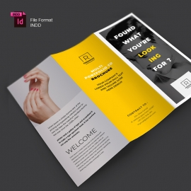Minimal Corporate Business Trifold Brochure Yellow Accent