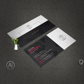 Minimal Creative Business Card Red Accent