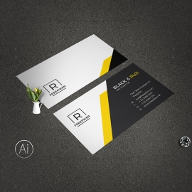Minimal Creative Business Card Yellow Accent