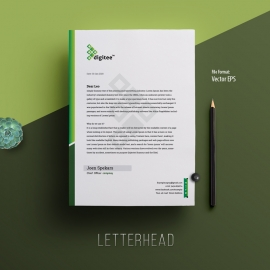 Minimal Letterhead Template With Green Accent