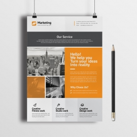 Minimal Orange Box Style Flyer