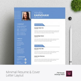 Minimal Resume & Cover Letter Layout with Blue Elements
