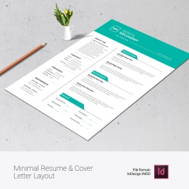 Minimal Resume & Cover Letter Layout with Paste Elements