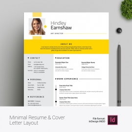 Minimal Resume & Cover Letter Layout with Yellow Elements