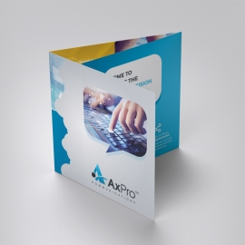 Minimal Square TriFold Brochure With Blue Accent