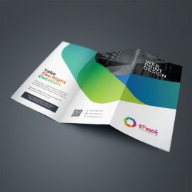 Minimal TriFold Brochure With Blue Green Accent