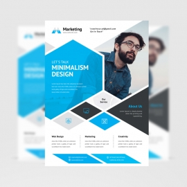 Minimalism Abstract Triangle Flyer With Blue Color