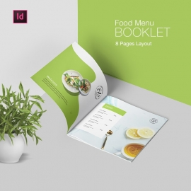 Minimalist Food Menu Booklet With Black Green Elements