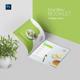 Minimalist Food Menu Booklet With Black Green Elements