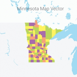 Minnesota Map Colorful Vector Design