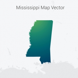 Mississippi Map By Gradient Vector Design