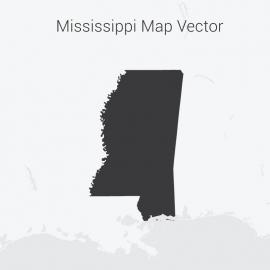 Mississippi Map Dark Vector Design