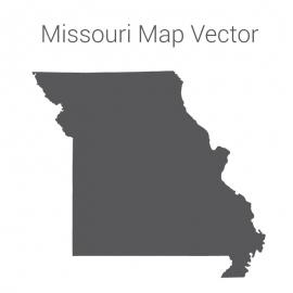 Missouri Map Dark Vector Design