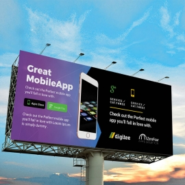 Mobile App Billboard Sinage With Dark And Gradient