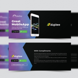 Mobile App Compliment Card With Dark And Gradient
