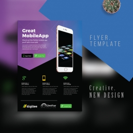 Mobile App Flyer Template With Dark