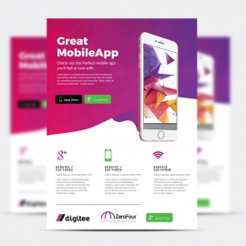 Mobile App Flyer With Magenta Accent