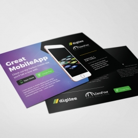 Mobile App PostCard With Dark And Gradient