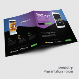 Mobile App Presentation Folder With Dark And Gradient