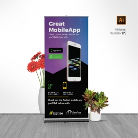 Mobile App Rollup Banner With Dark And Gradient