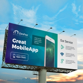 Mobile Apps Billboard With Digital Concept