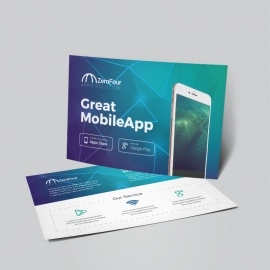 Mobile Apps Post Card With Digital Concept
