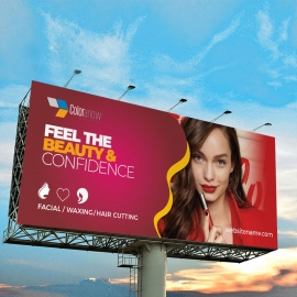 Modern Beauty And Fashion Billboard Sinage With Red Accent