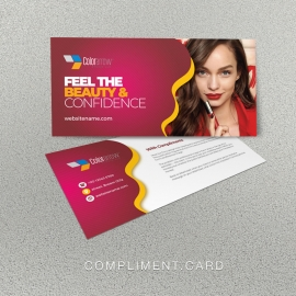 Modern Beauty And Fashion Compliment Card With Red Accent