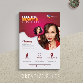 Modern Beauty And Fashion Flyer With Red Accent