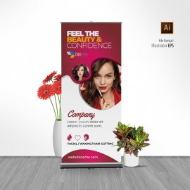 Modern Beauty And Fashion Rollup Banner With Red Accent