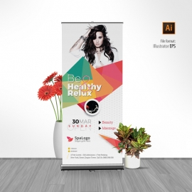 Modern Beauty Rollup Banner With Abstract Design