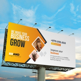 Modern Billboard Sinage With Orange Accent