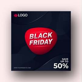 Modern Black Friday Abstract Social Media Sale Banner